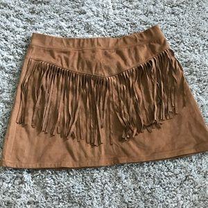 Tan fringe skirt